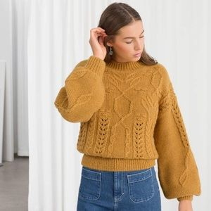 & Other Stories Floral Cable Knit Sweater in XS